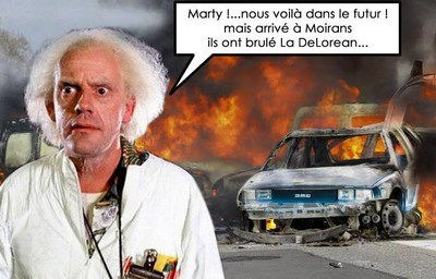 bttf - delorean brulée