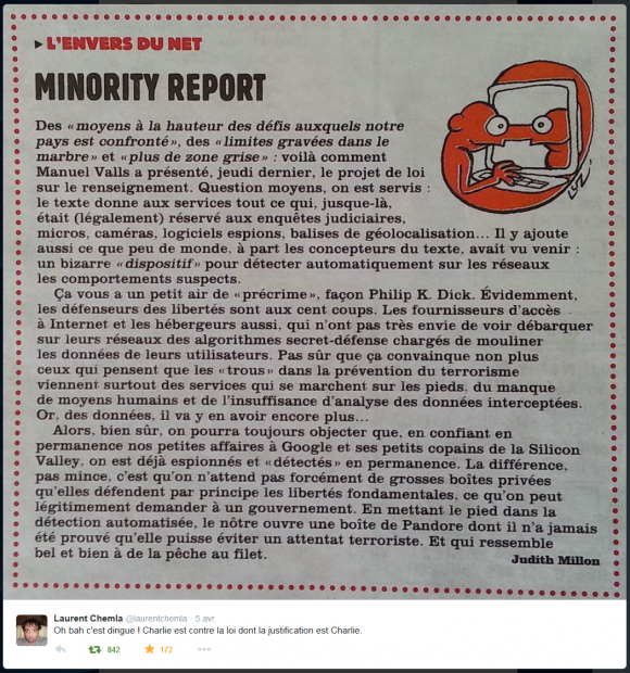 Même Charlie Hebdo s'oppose au #PJLRenseignement