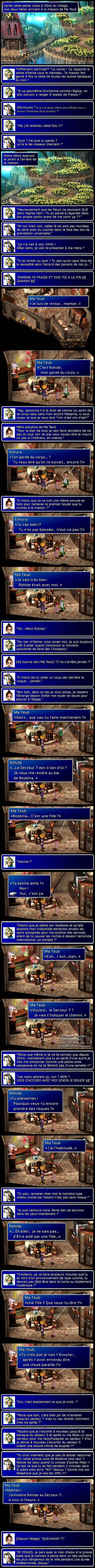 Final fantasy 7 : Cloud et Aeris se rendent dans la maison de cette dernière. Aeris présente Cloud à sa mère qui meure un peu à l'intérieure.
