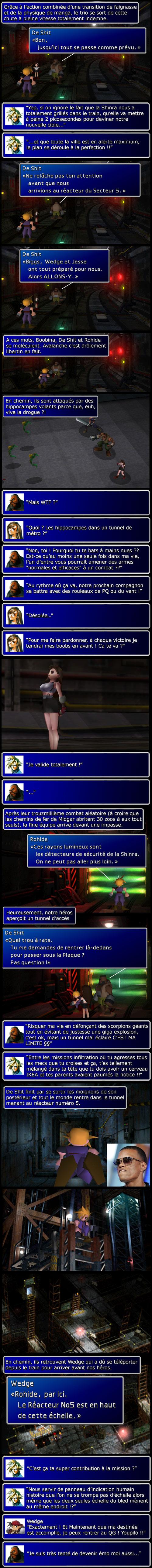 Final fantasy 7 : Cloud, Barret et Tifa se fraye un chemin dans le métro jusqu'au réacteur 5