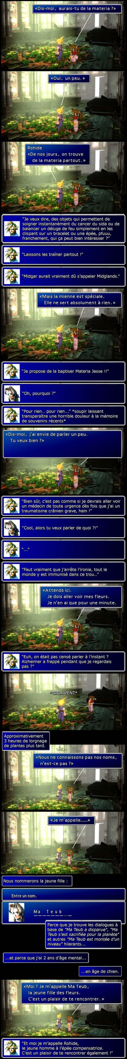 Final fantasy 7 : Aeris se présente, même qu'elle s'appelle désormais Ma Teub pour un maximum de situations cocasses.