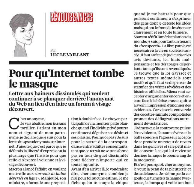 Lettre de Luc Le Vaillant, sur Libération, à charge contre l'anonymat